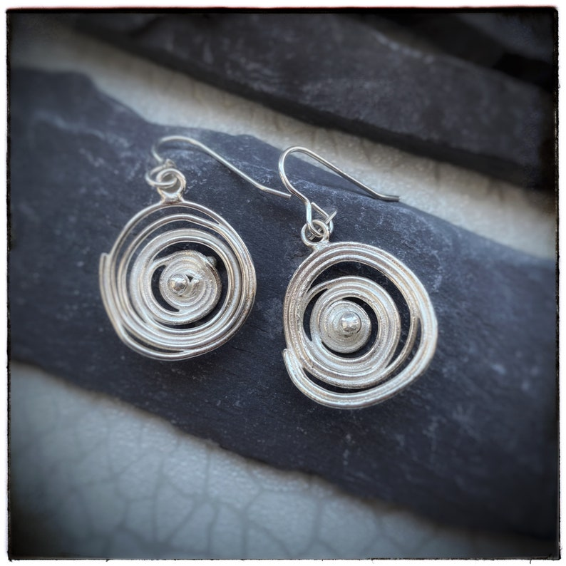 Swirl sterling silver melted spiral drop and dangly earrings image 0