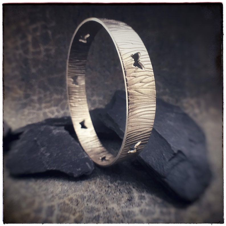 Handmade sterling silver butterfly cutout bangle with a image 0