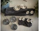 Super seconds sterling silver swirl earrings, swirly silver wire dangly drop earrings
