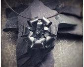 Blackened sterling silver handmade 2 layer large bloom flower pendant