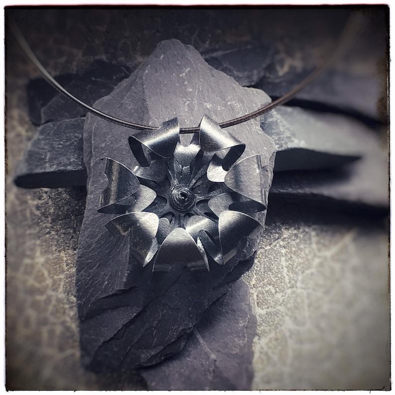 Blackened sterling silver handmade 2 layer large bloom flower image 0