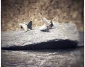 Sterling silver 'Zephyr' butterfly handmade stud earrings