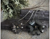Super seconds Sterling silver oxidised blank flower pendant with 18ct yellow gold middles, large and medium variety, 18 inch chain