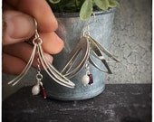 Large dangly sterling silver handmade leaf earrings with white fresh water pearls and red tube garnets, nature inspired drop and dangle