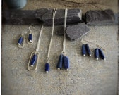 Super seconds lapis royal blue beads and sterling silver handmade earrings and pendants, 18 inch sterling chain and hook wires