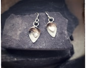 Sterling silver lily and orchid inspired small dangly drop earrings, handmade delicate Flourish silver dangly earrings