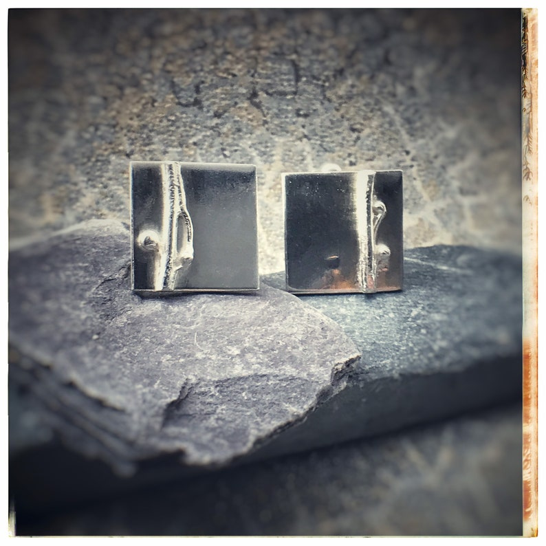 Silver square handmade cufflinks with seaweed detail image 0