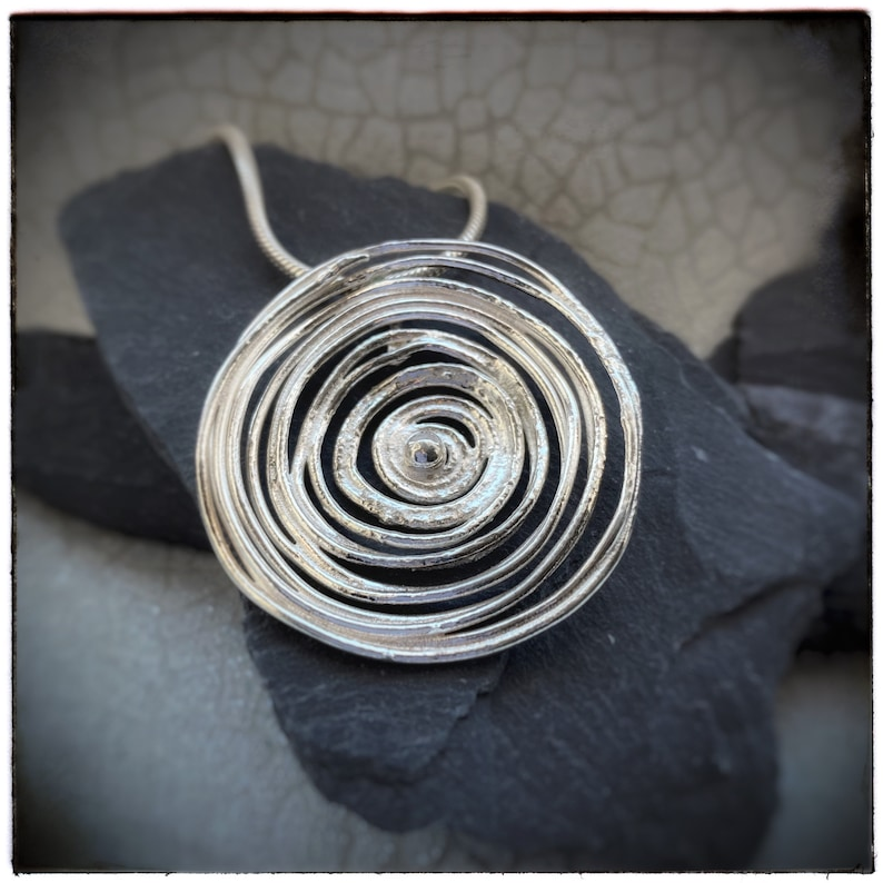 Silver swirl super size handmade melted pendant image 0