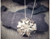 Handmade sterling silver flower pendant with double layers of petals, Bloom floral pendant for garden lovers