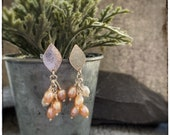 Pearl and silver handmade dangly earrings, Pastel peach fresh water pearl, sterling silver studs with dangly cultured rice pearls