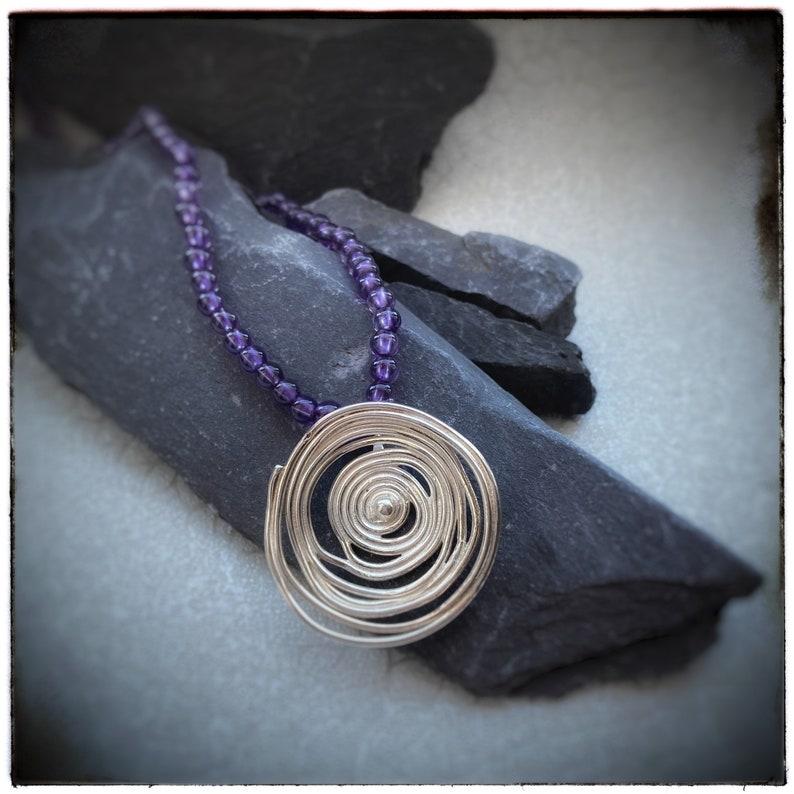 Silver swirl handmade pendant & purple amethyst one off beaded image 0