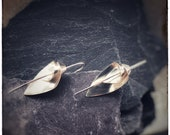Sterling silver handmade flower lily earrings, unique floral shape orchid or lily floral earrings, Flourish silver single medium earrings