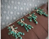 Super seconds Multi layer turquoise chip sterling silver handmade drop and dangly earrings