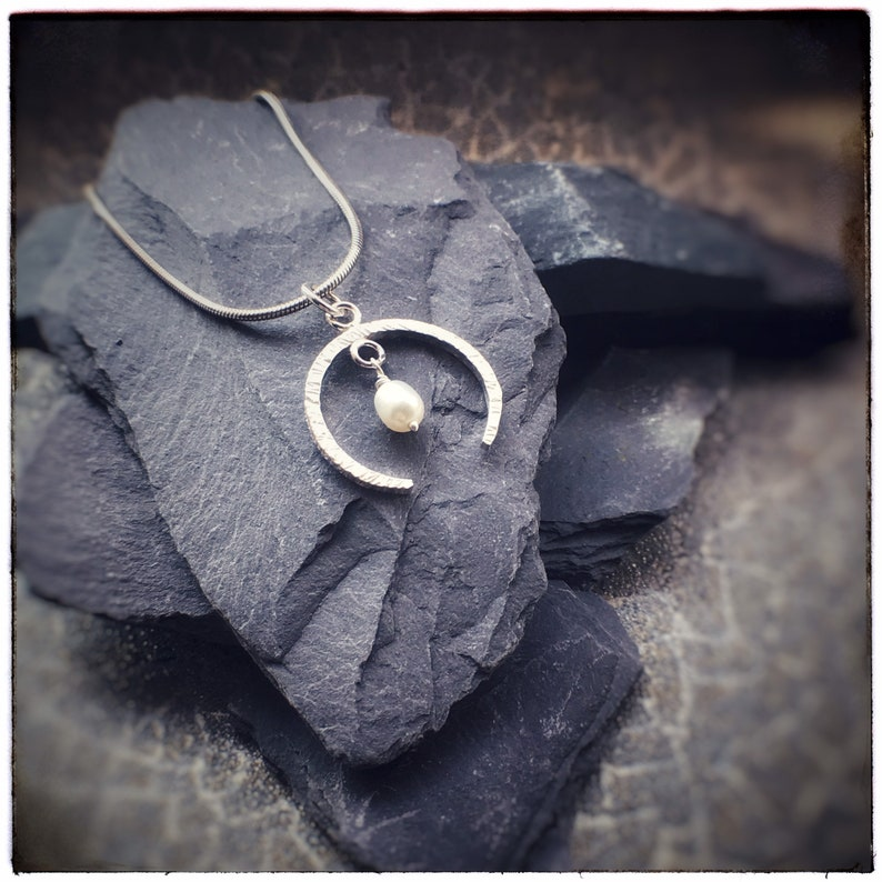 Hammered sterling silver crescent moon pendant with fresh image 0