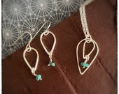Super seconds Teardrop turquoise sterling silver handmade pendant and drop earrings