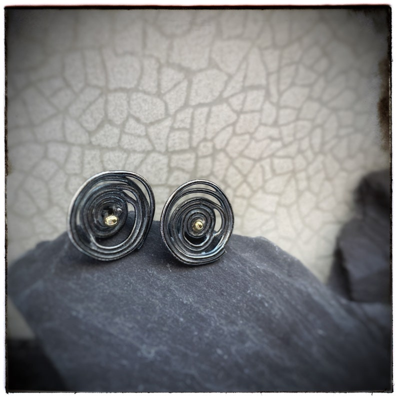 Oxidised sterling silver swirl unique stud earrings with 18ct image 0