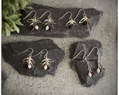 Sterling silver handmade leaf, white fresh water pearl and red tube garnet drop dangly earrings inspired by nature