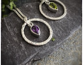 "Handmade sterling silver hammered hoop with purple amethyst faceted pear gemstone or green peridot faceted pear gemstone pendant, 18"" chain"
