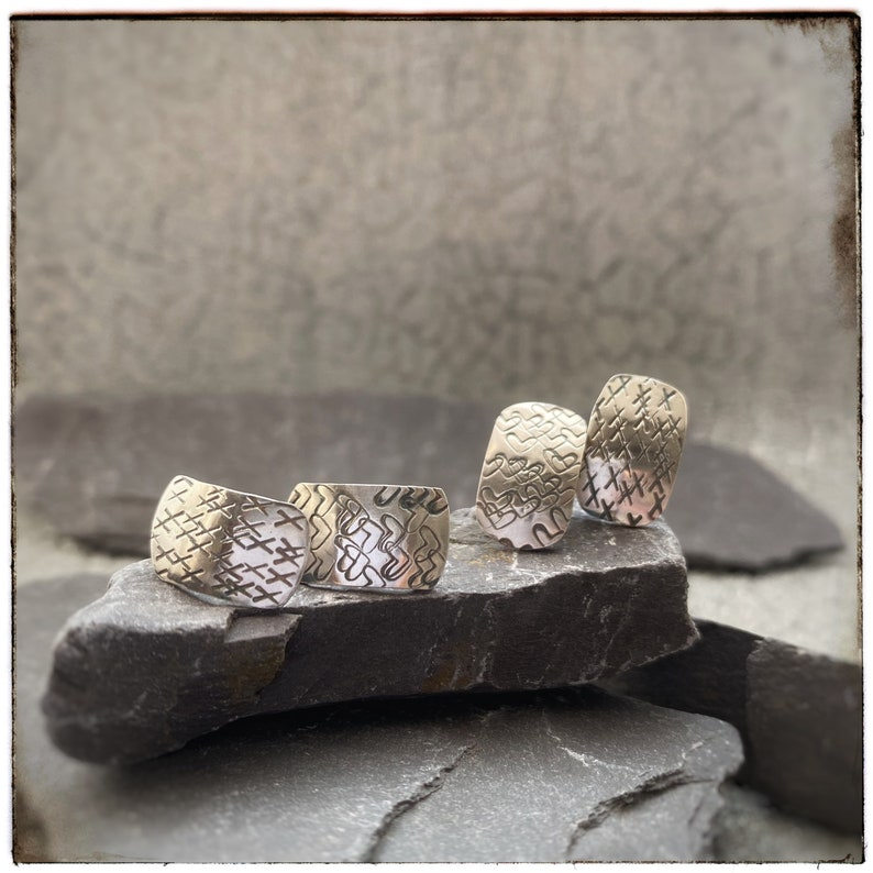 Hearts and kisses handmade sterling silver valentines stud image 0