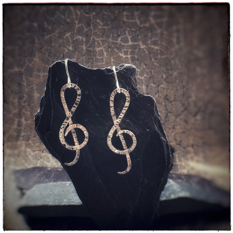 Treble clef handmade hammered sterling silver earrings for image 0