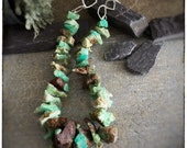 Statement rough cut chrysoprase green and copper brown handmade beaded necklace with handmade sterling silver clasp, one of a kind 20inches