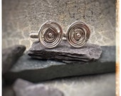 Sterling silver melted swirl spiral cufflinks, individually made gift for him, perfect for Father's Day