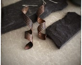 Super seconds spiral long dangly copper earrings, handmade drop ribbon inspired bark textured earrings, sterling silver hook wire 60mm long