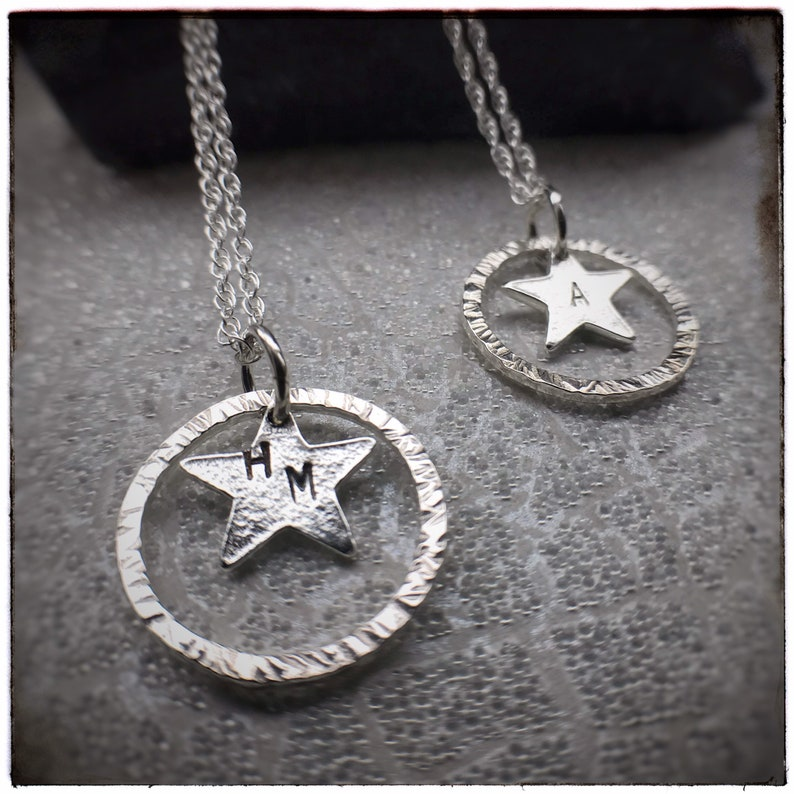 MUMMYS STAR charity sterling silver star and hammered hoop image 0