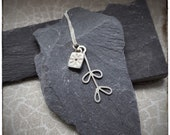 Sterling silver handmade pressed flower pendant and silver leaves