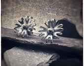 Bloom oxidised sterling silver flower stud earrings with 18ct gold centres.