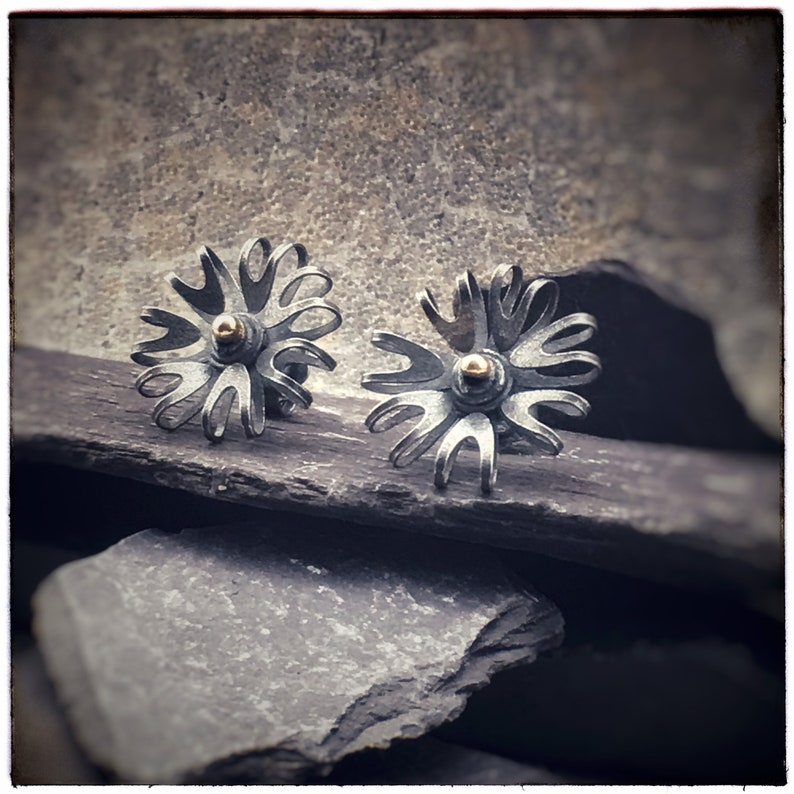 Bloom oxidised sterling silver flower stud earrings with 18ct image 0