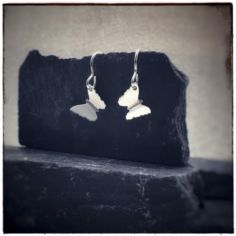 Sterling silver handmade cut out butterfly Zephyr drop image 0