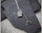 Sterling silver handmade pressed flower and leaf pendant