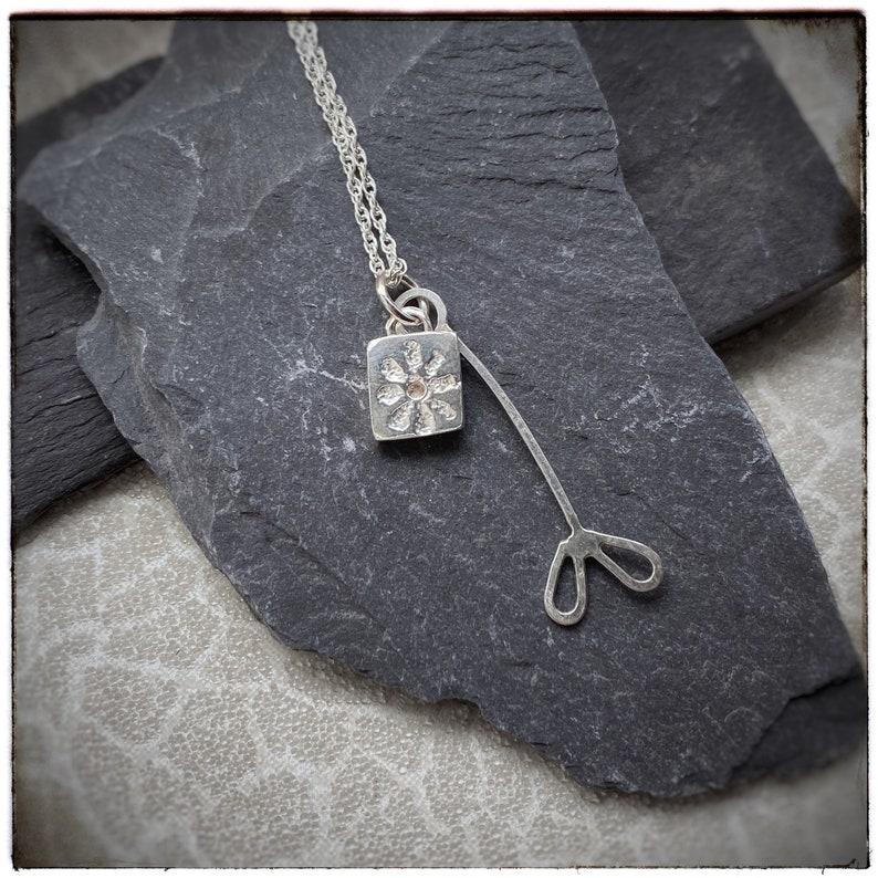 Sterling silver handmade pressed flower and leaf pendant image 0