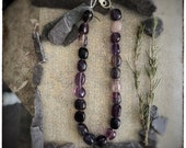 Fluorite chunky large beaded necklace with handmade unique sterling silver clasp