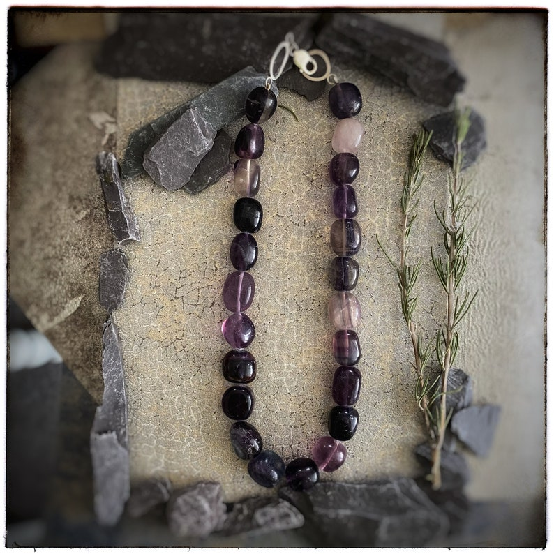 Fluorite chunky large beaded necklace with handmade unique image 0