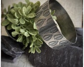 Sterling silver etched leaf handmade bangle oxidised and blackened 30mm width, diameter 68mm approximately