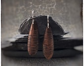 Copper bark textured long drop earrings with sterling silver hooks, nature and tree inspired earrings perfect for gardeners and gift for her