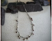 Oxidised blackened sterling silver handmade textured chain with red tube garnet and fresh water pearl beads, 20 inches