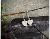 Handmade love heart earrings, freshwater white heart shaped valentines pearls on sterling silver hook wires, anniversary, wedding earrings