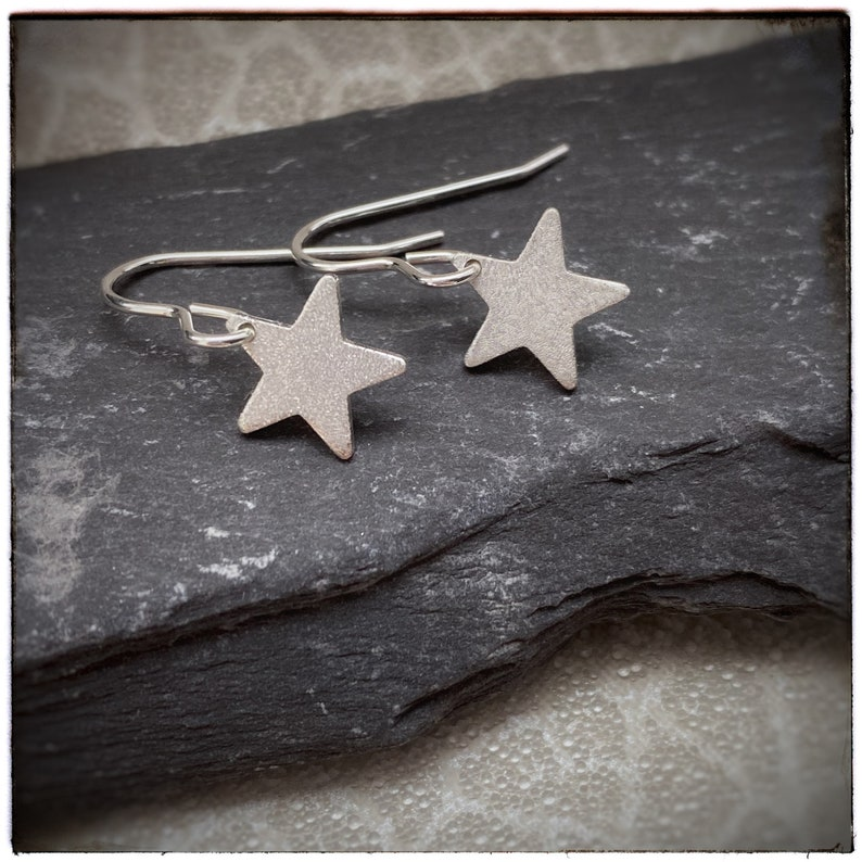 Sterling silver sparkly star handmade drop and dangle earrings image 0