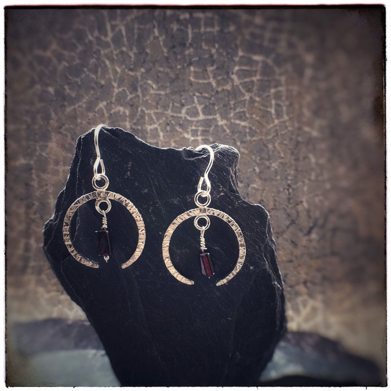 Hammered sterling silver crescent moon earrings with red image 0