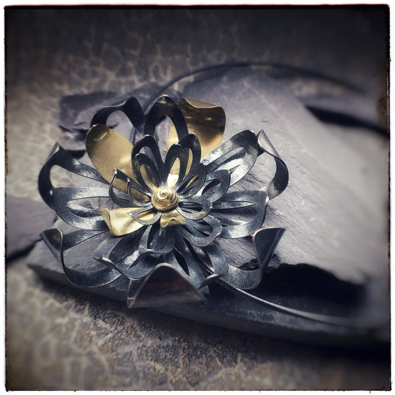 Sterling oxidised silver and 18ct yellow gold handmade bloom image 0