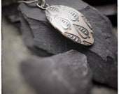 Handmade sterling silver etched Eden leaf pattern pendant, leaves and foliage decorated necklace