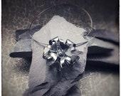 Handmade sterling silver oxidised (blackened) bloom flower pendant