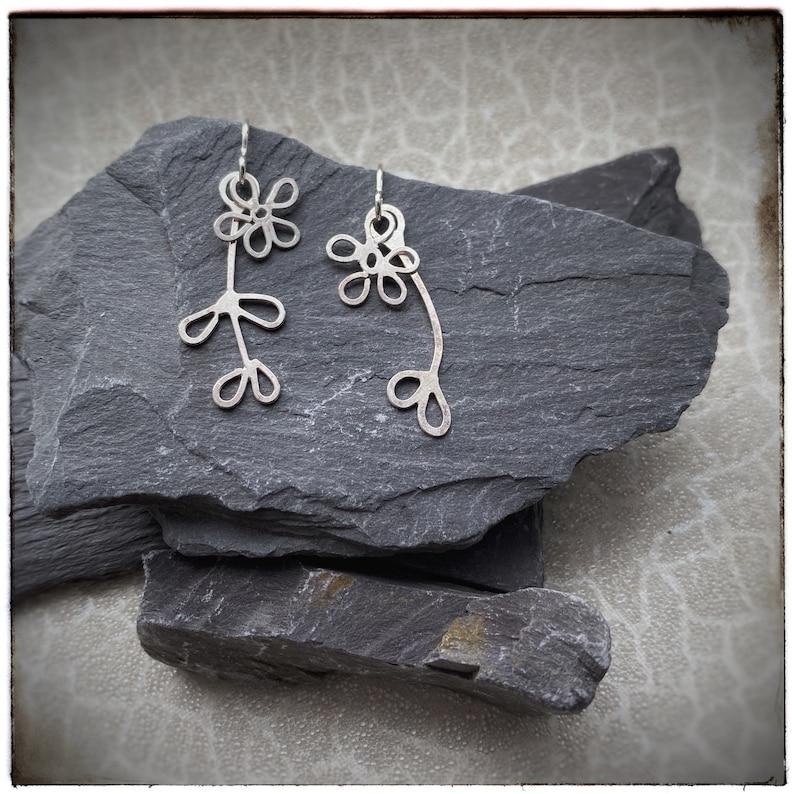 Mismatched sterling silver handmade flower dangly drop image 0