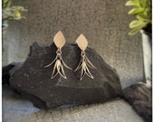 Silver leaf dangly earrings, handmade sterling silver drop leaf earrings with silver stud