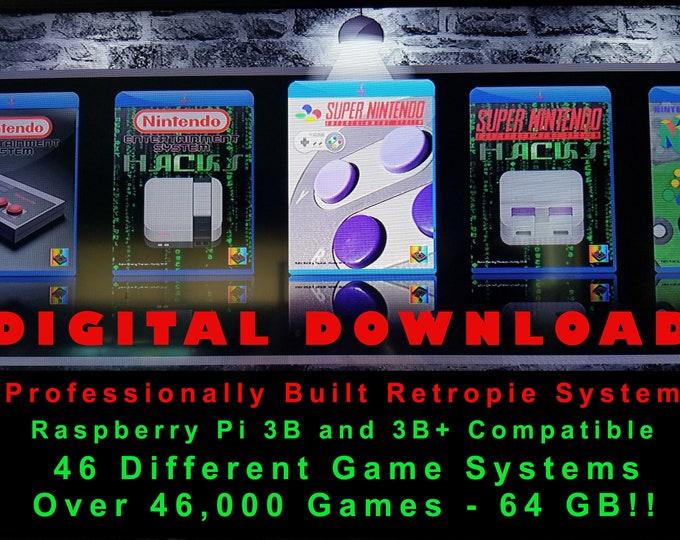 Professional Retropie System 64 GB 46k Games Build Raspberry Pi 3b & 3b+ Compatible - Kodi, Chromium Browser, Pixel Desktop