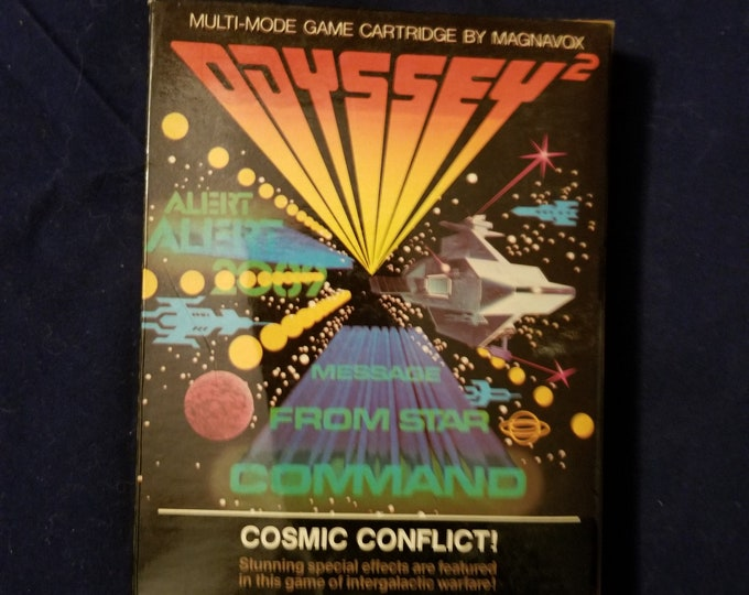 Magnavox Odyssey 2 Cosmic Conflict! in Retail Box with Manual and Cartridge