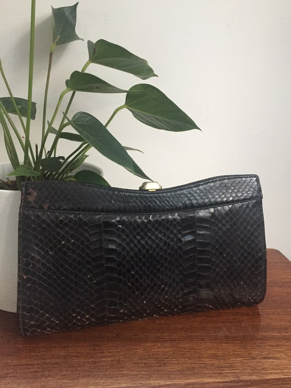 1940s Snakeskin leather Frame Clutch Bag, real sna